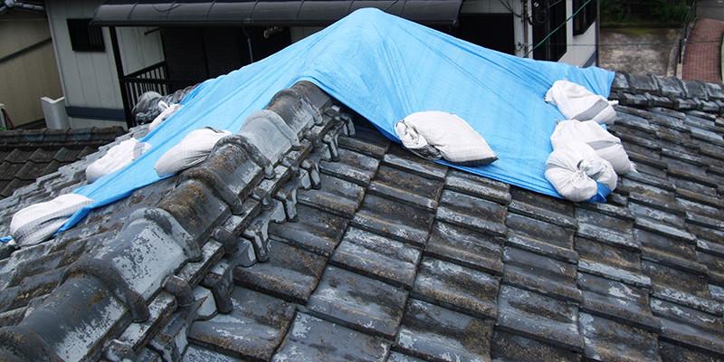 屋根の雨漏り応急処置
